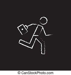 zuerst, satz, rennender , sanitäter, chalk., gezeichnet, ikone, hilfe