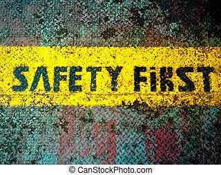 zuerst, sicherheit, retro, zeichen