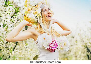 zufrieden, blond, dame, basierend, in, der, busen, von, der, natur