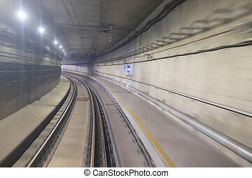 zug, bewegen, schiene, tunnel, mit, mäßigen, bewegungszittern