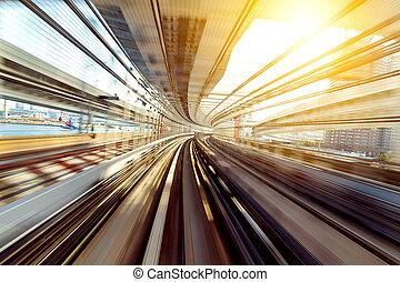 zug, bewegen, schnell, in, tunnel
