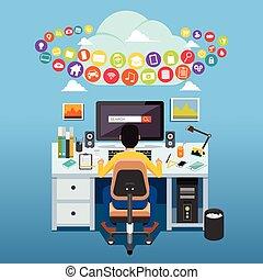 zugreifen, monitor, sitzen, edv, front, tisch, stuhl, internet., mann