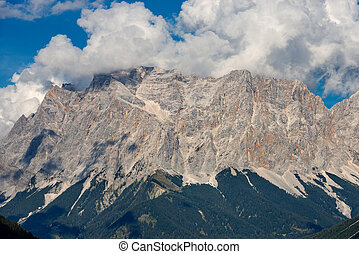 Zugspitze (2962 m) European Alps, the highest peak of the Wetterstein Mountains. Border between Austria and Germany, Europe