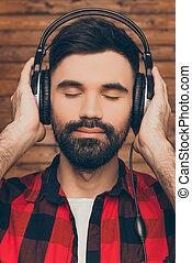 zuhören, head-phones, geschlossene, musik, junger,...