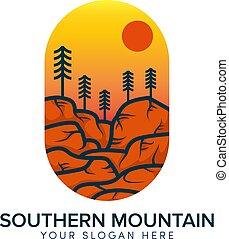 zuidelijk, logo, zon, heuvel, berg, sinaasappel, ontwerp