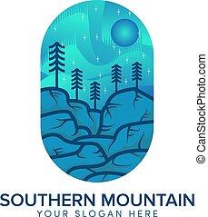 zuidelijk, logo, zon kleur, heuvel, volle, blauwe , ontwerp