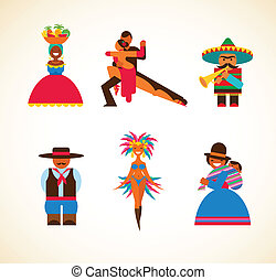 zuidelijke amerikaan, mensen, -, concept, illustratie