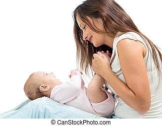 zuigeling, haar, blij, moeder, baby, spelend