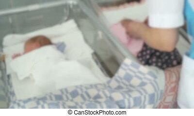 zuigeling, medisch, pasgeboren, kamer, verpleegkundige, ...