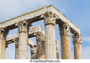 zuil, antient, tempel, griekse