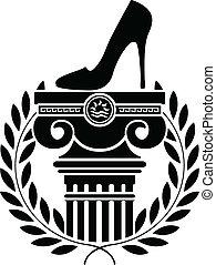 zuil, en, vrouwen, schoen