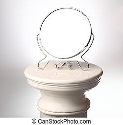 zuil, -, griekse , enkel, free-standing, spiegel