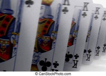 zuil, kaarten, het marcheren, spelend, voorwaarts