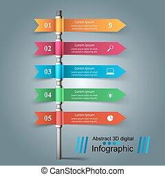 zuil, papier, vijf, infographic
