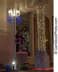 zuil, verfraaide, lamppost, kerstmis