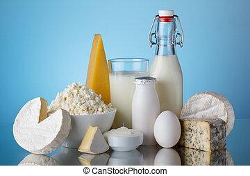 zuivelproducten, melk, kaas, ei, yoghurt, onaardige room,...