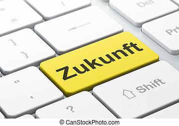 zukunft(german), palabra, render, teclado, timeline, botón, seleccionado, foco, plano de fondo, entrar, computadora, concept:, 3d