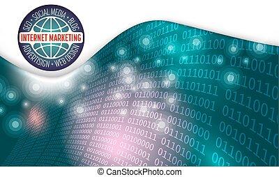 zukunftsidee, abstrakt, hintergrund, und, binärcode, der, wörter, internet marketing, seo, blog, sozial, medien, advertising;, netz- design