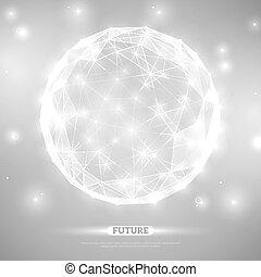 zukunftsidee, abstrakt, sphere., masche, wireframe, vektor, ...
