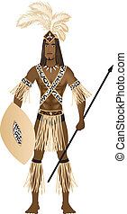 Zulu Carnival Costume - Vector Illustration of a man dressed...