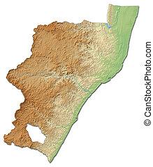 zulu-natal, -, (south, erleichterung karte, africa), 3d-rendering, kwa