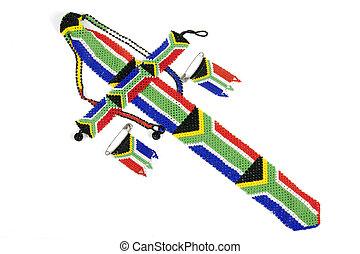 Zulu Threaded Beadwork Depicting the South African Flag - ...