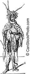 Zulu, vintage engraving. - Zulu, vintage engraved...