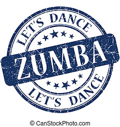 Zumba blue vintage grungy isolated round stamp