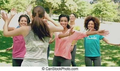 Zumba class dancing in the park