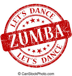 Zumba red vintage grungy isolated round stamp