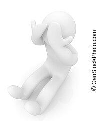 zumbido, personaje, cara, series:, fondo., manos, blanco, 3d