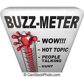 zumbido, popularidad, metro, medidas, termómetro