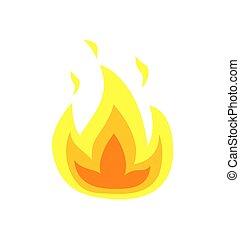 zungen, brennender, feuer, freigestellt, vektor, flamme, ikone