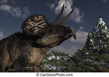 Zuniceratops Dinosaur - Computer Generated Image Of A...