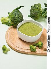 zupa, smakowity, zielony, brokuł, tło