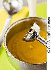 zupa, wtykać, mikser