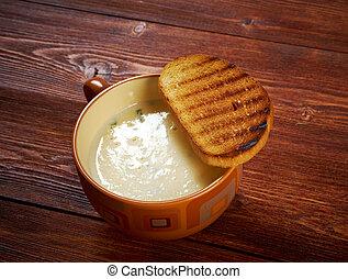 zuppa, d'aglio, crosta