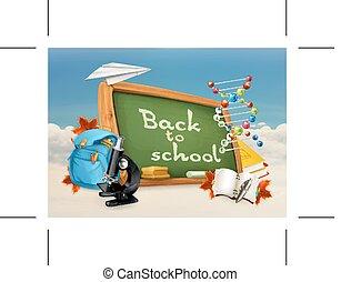 zurück schule, abbildung, weiß, blau, hintergrund