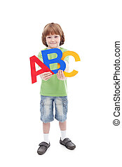 zurück schule, begriff, kind, und, alphabet, briefe