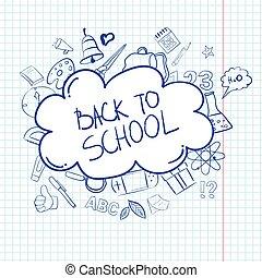 Schule, gekritzel, kariert, hand-drawn, papier, hintergrund, doodles ...