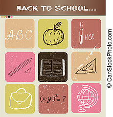 zurück schule, hand, gezeichnet, poster.