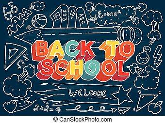 zurück schule, hand, gezeichnet, vektor, abbildung
