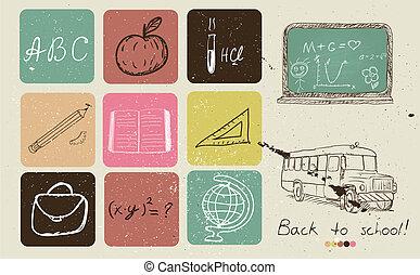 zurück schule, hand, zeichnung, poster.