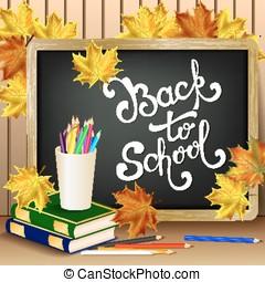 zurück schule, hintergrund, mit, hand, gezeichnet, lettering.