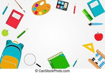 zurück schule, hintergrund, vektor, abbildung