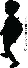 zurück schule, kind, silhouette