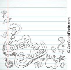 zurück schule, -, notizbuch, mit, doodles