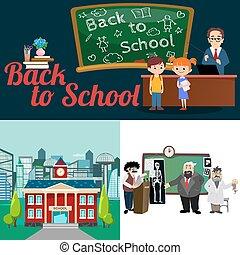 zurück schule, satz, von, pictographs, childrens, leben, zeitung, und, buchausleihe, knaben, basketball, mädels, cheerleader, mannschaft, lehrer, mit, pupillen, an, klasse, professor, vortrag, hochschule, gebäude, vektor, abbildung
