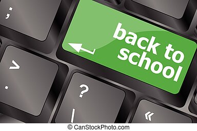 zurück schule, schlüssel, auf, edv, keyboard., tastatur gibt, ikone, taste, vector., tastatur, ikone, tastatur, ikone, vektor, tastatur, ikone, kunst, tastatur, ikone, app