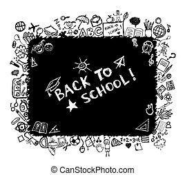zurück schule, skizze, rahmen, für, dein, design